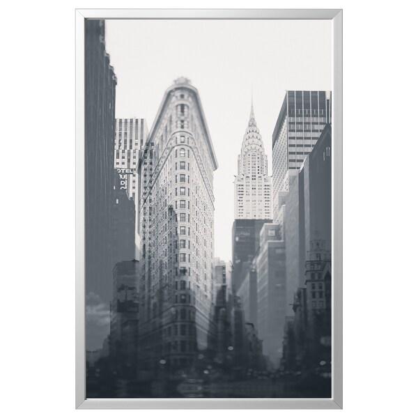 BJÖRKSTA Foto met lijst, New York City/aluminiumkleur, 118x78 cm