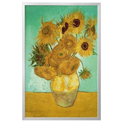 BJÖRKSTA Foto met lijst, stilleven/Vaas met 12 zonnebloemen aluminiumkleur, 78x118 cm