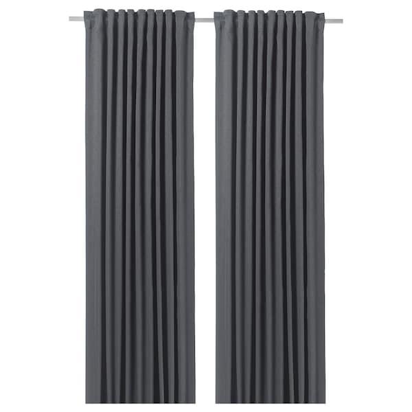 BLÅHUVA Verduisterende gordijnen, 1 paar, donkergrijs, 145x300 cm