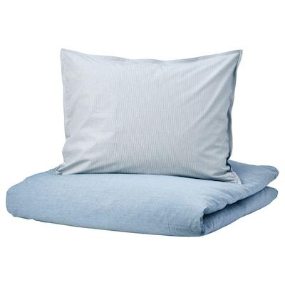 BLÅVINDA Dekbedovertrek en 2 kussenslopen, lichtblauw, 200x200/60x70 cm