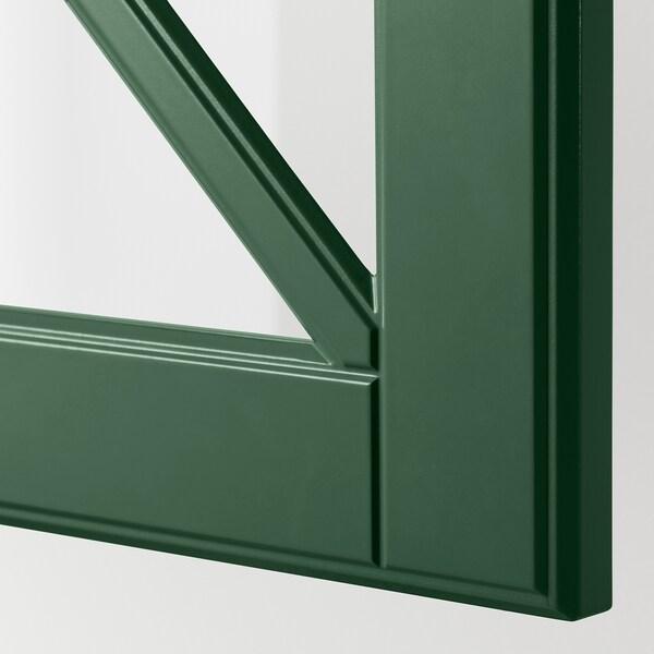 BODBYN Glazen deur met kruislat, donkergroen, 40x40 cm