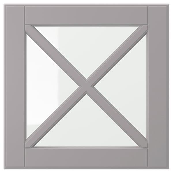 BODBYN Glazen deur met kruislat, grijs, 40x40 cm