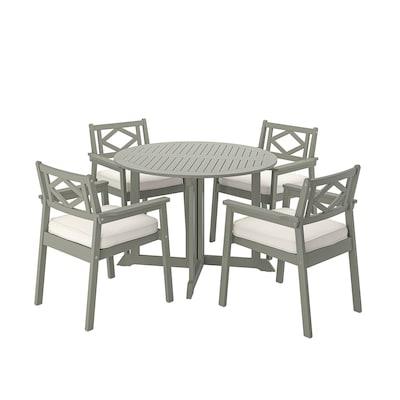 BONDHOLMEN tafel+4 leunstoelen, buiten grijs gelazuurd/Järpön/Duvholmen wit