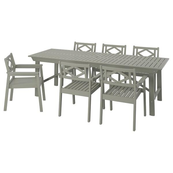 BONDHOLMEN tafel+6 stoelen, buiten grijs gelazuurd