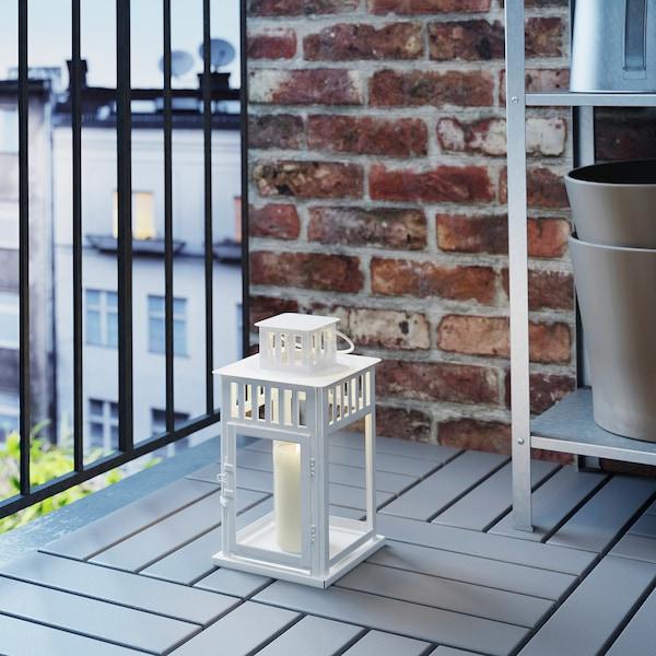 BORRBY Lantaarn voor stompkaars, binnen/buiten wit, 28 cm