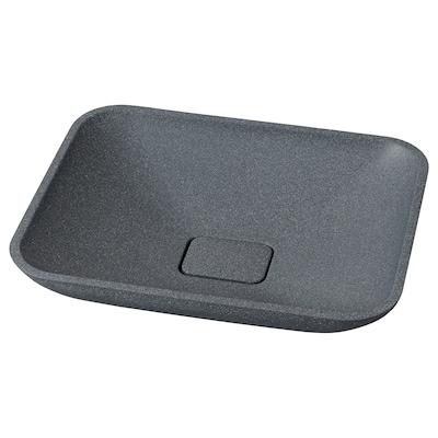 BORSTEN Wastafel voor op werkblad, zwart/steenpatroon, 50x40 cm