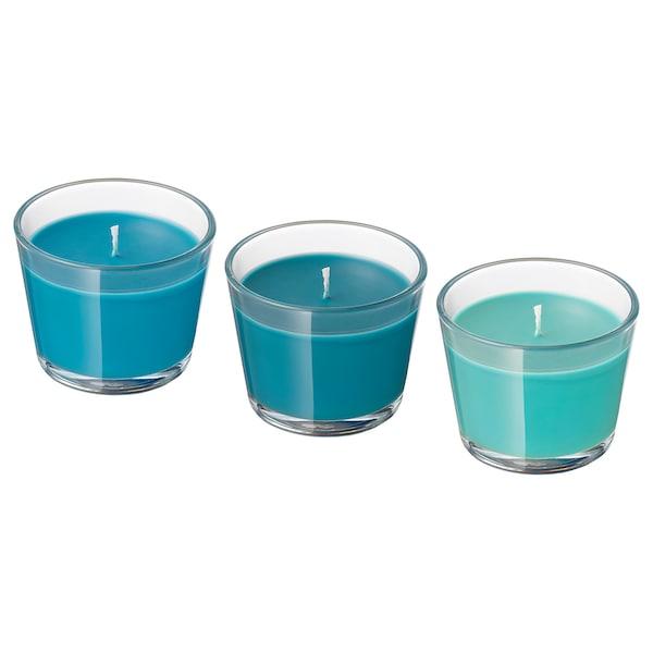 BRÄCKA Geurkaars in glas, Kokos/turkoois
