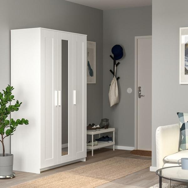 BRIMNES Kledingkast met 3 deuren, wit, 117x190 cm