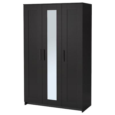 BRIMNES Kledingkast met 3 deuren, zwart, 117x190 cm