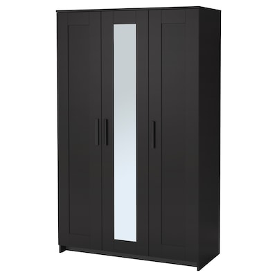 BRIMNES kledingkast met 3 deuren zwart 117 cm 50 cm 190 cm