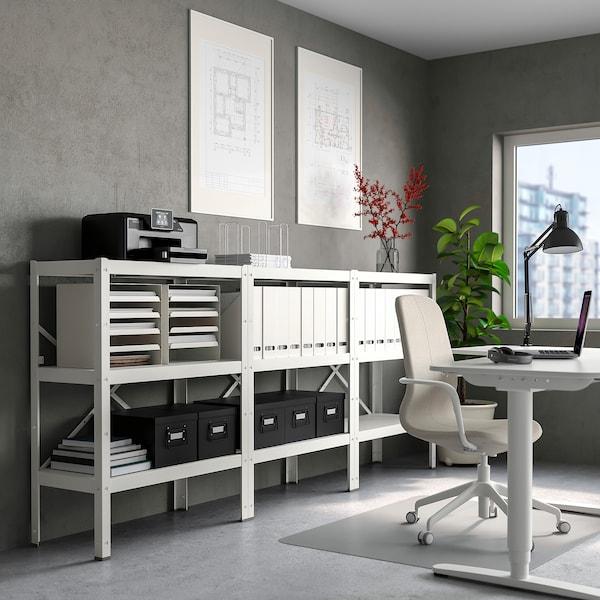 BROR 3 elementen/planken, wit, 254x40x110 cm