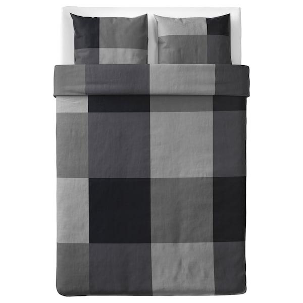 BRUNKRISSLA Dekbedovertrek en 2 kussenslopen, zwart, 200x200/60x70 cm