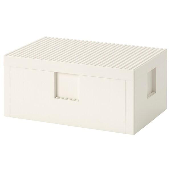 BYGGLEK LEGO® opbergbox met deksel, wit, 26x18x12 cm