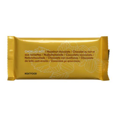 CHOKLAD NÖT Melkchocoladereep met hazelnoten Nettogewicht: 100 g