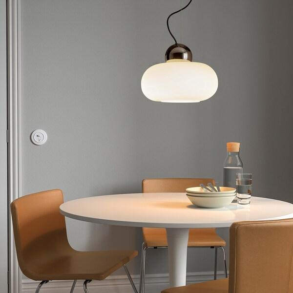 DEJSA Hanglamp, verchroomd/opaalwit glas, 36 cm