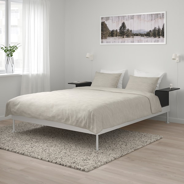 DELAKTIG Bedframe met 2 tafeltjes, aluminium/zwart, 160x200 cm
