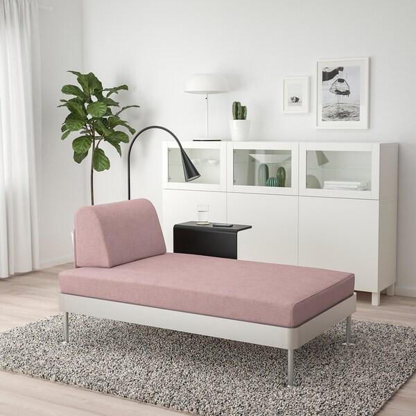 DELAKTIG Chaise longue met bijtafel en lamp, Gunnared oudroze
