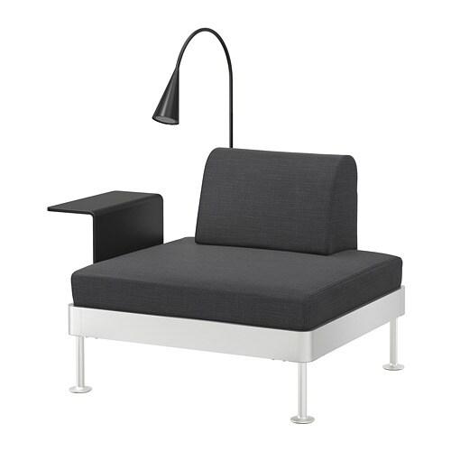 DELAKTIG Fauteuil met bijtafel en lamp - Hillared antraciet - IKEA