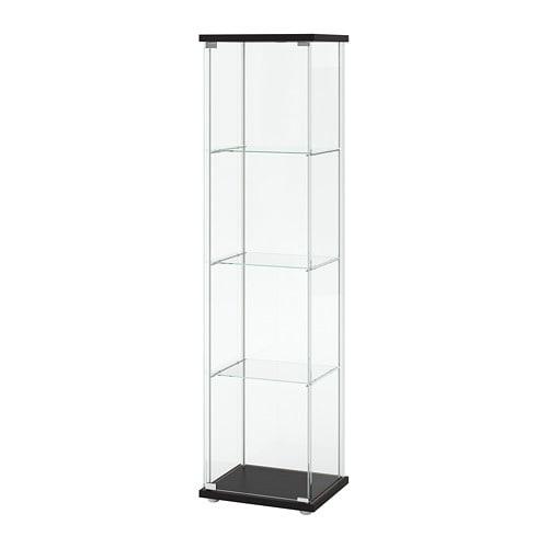 Glazen Wand Vitrinekast.Detolf Vitrinekast Zwartbruin Ikea