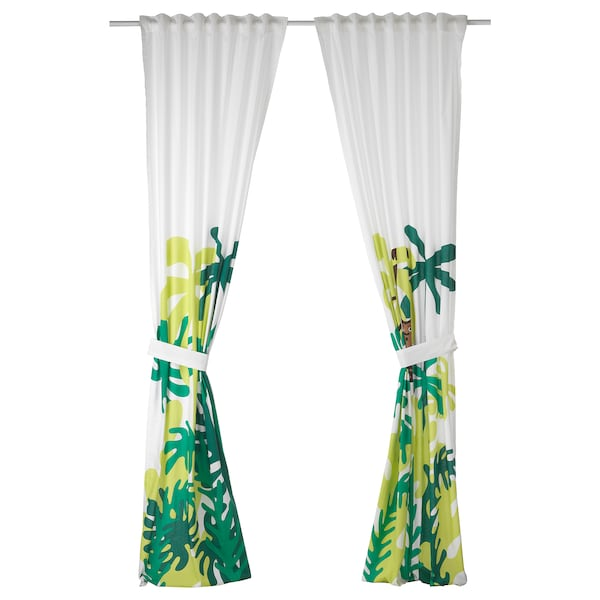 DJUNGELSKOG Gordijnen met embrasse, 1 paar, aap/groen, 120x300 cm