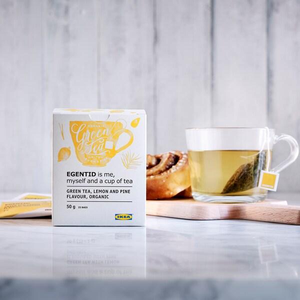EGENTID Groene thee, citroen/dennen/UTZ-gecertificeerd/biologisch, 50 g