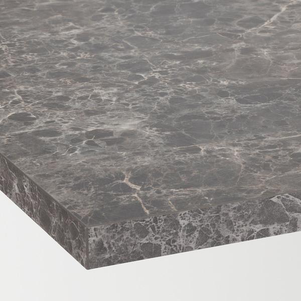 EKBACKEN Werkblad, donkergrijs marmerpatroon/laminaat, 186x2.8 cm