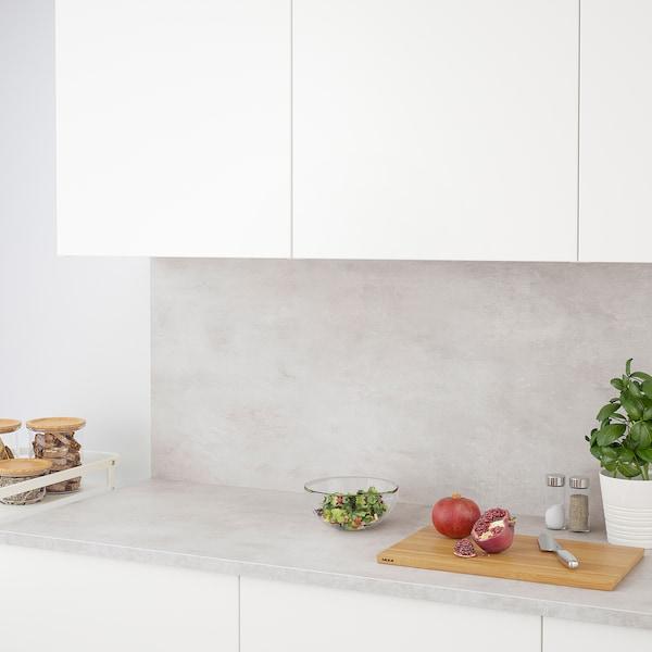 EKBACKEN Werkblad, lichtgrijs betonpatroon/laminaat, 246x2.8 cm