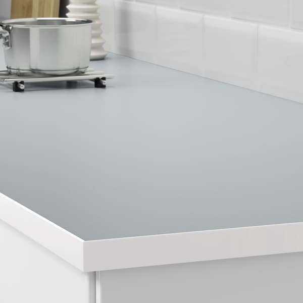 EKBACKEN Werkblad, tweezijdig, witte rand lichtgrijs/wit/laminaat, 246x2.8 cm