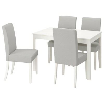 EKEDALEN / HENRIKSDAL Tafel en 4 stoelen, wit/Orrsta lichtgrijs, 120/180 cm