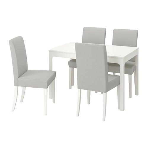 Eettafel En Stoelen Ikea.Ekedalen Henriksdal Tafel En 4 Stoelen Wit Orrsta Lichtgrijs