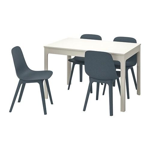 Eettafel En Stoelen Ikea.Ekedalen Odger Tafel En 4 Stoelen Wit Blauw