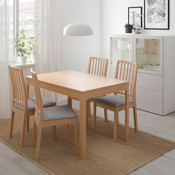 EKEDALEN Uitschuifbare tafel, eiken, 120/180x80 cm