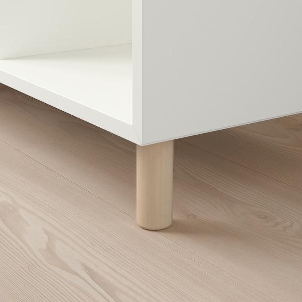 EKET Kastencombinatie met poten, wit/hout, 140x35x80 cm