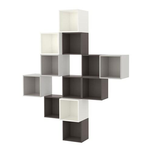 eket kastencombinatie voor wandmontage wit donkergrijs lichtgrijs ikea. Black Bedroom Furniture Sets. Home Design Ideas