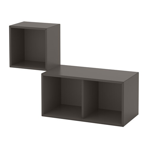 eket kastencombinatie voor wandmontage donkergrijs ikea. Black Bedroom Furniture Sets. Home Design Ideas