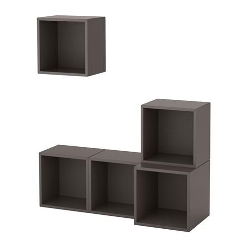 eket kastencombinatie voor wandmontage donkergrijs ikea. Black Bedroom Furniture Sets. Home Design Ideas