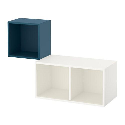 eket kastencombinatie voor wandmontage donkerblauw wit ikea. Black Bedroom Furniture Sets. Home Design Ideas