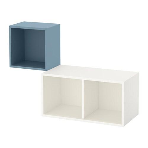 eket kastencombinatie voor wandmontage lichtblauw wit ikea. Black Bedroom Furniture Sets. Home Design Ideas