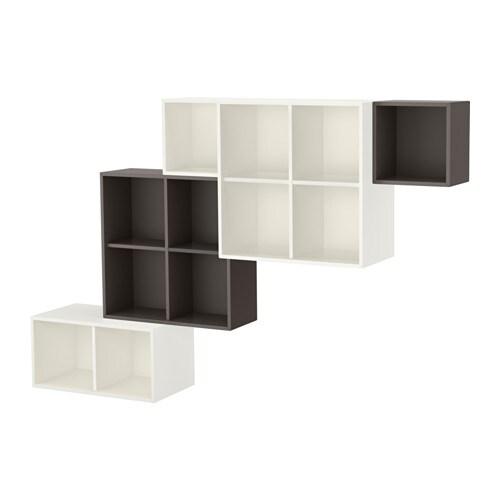 eket kastencombinatie voor wandmontage wit donkergrijs. Black Bedroom Furniture Sets. Home Design Ideas