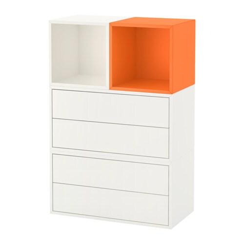 eket kastencombinatie voor wandmontage wit oranje ikea. Black Bedroom Furniture Sets. Home Design Ideas