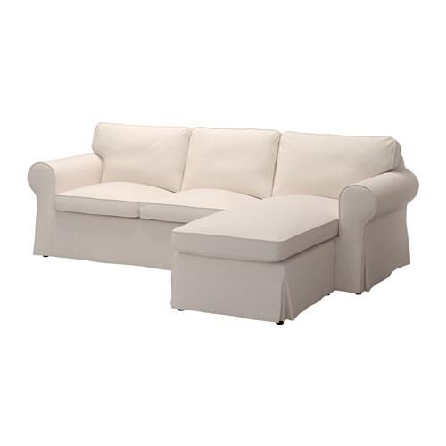Ektorp hoes 2 zitsbank met chaise longue lofallet beige for Chaise longue nl
