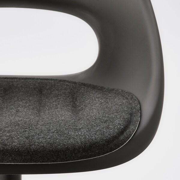 ELDBERGET / MALSKÄR Draaistoel met kussen, donkergrijs/zwart