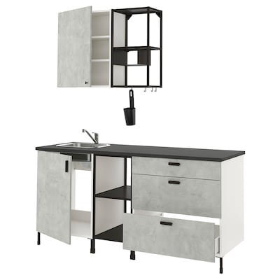 ENHET Keuken, antraciet/betonpatroon, 183x63.5x222 cm