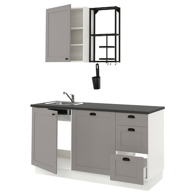 ENHET Keuken, antraciet/grijs frame, 163x63.5x222 cm
