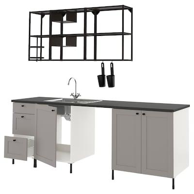 ENHET Keuken, antraciet/grijs frame, 243x63.5x222 cm