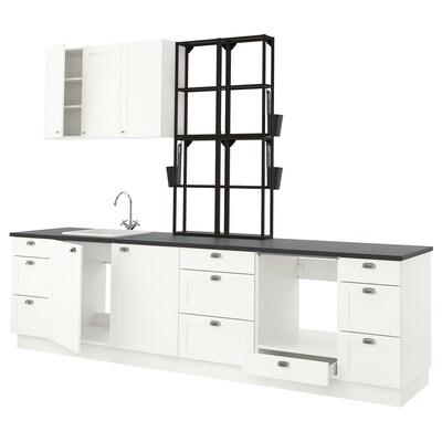 ENHET Keuken, antraciet/wit frame, 323x63.5x241 cm
