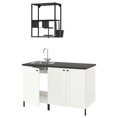 ENHET Keuken, antraciet/wit frame, 143x63.5x222 cm