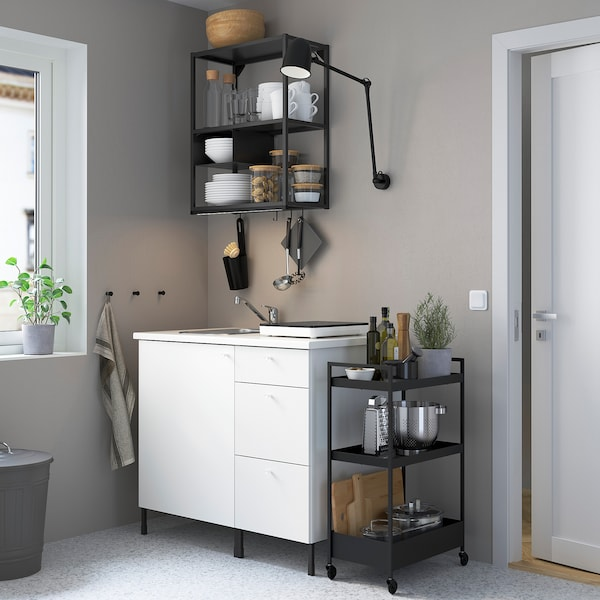 ENHET Keuken, antraciet/wit, 103x63.5x222 cm