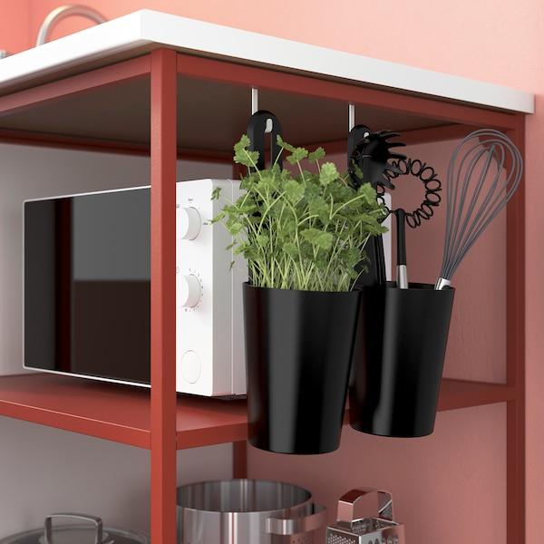 ENHET Keuken, rood/wit, 183x63.5x222 cm