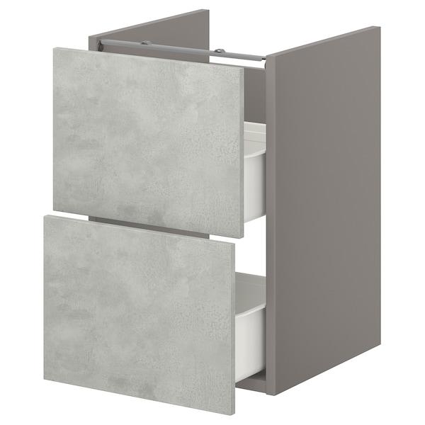 ENHET Onderkast voor wastafel met 2 lades, grijs/betonpatroon, 40x42x60 cm